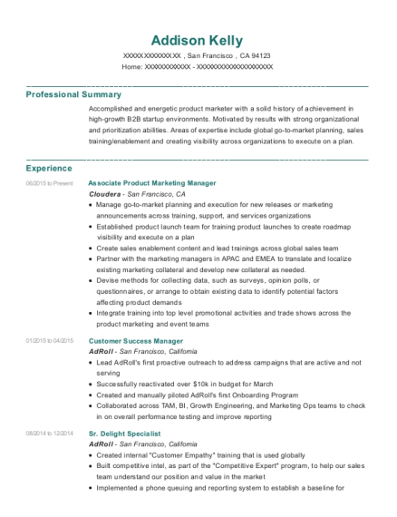 addison kelly - Customer Success Manager Resume