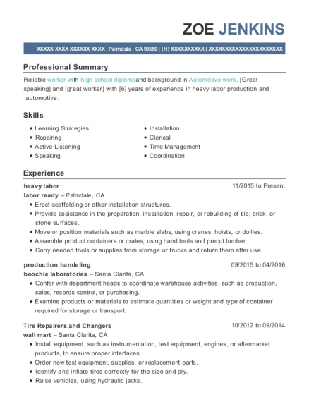 Labor Ready Heavy Labor Resume Sample - Palmdale California | ResumeHelp