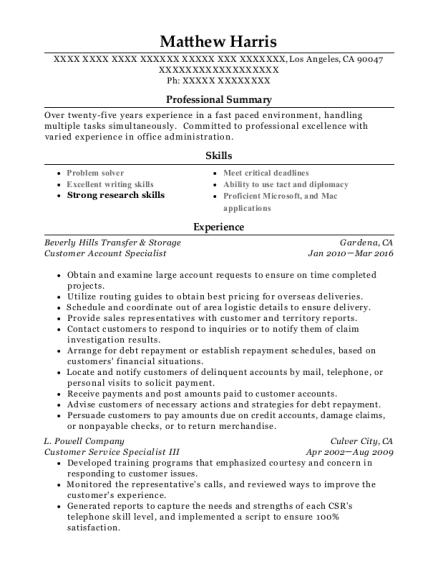 Best Customer Account Specialist Resumes | ResumeHelp