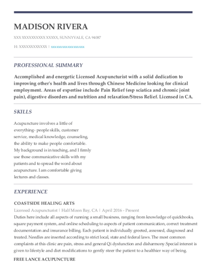 coastside healing arts licensed acupuncturist resume sample