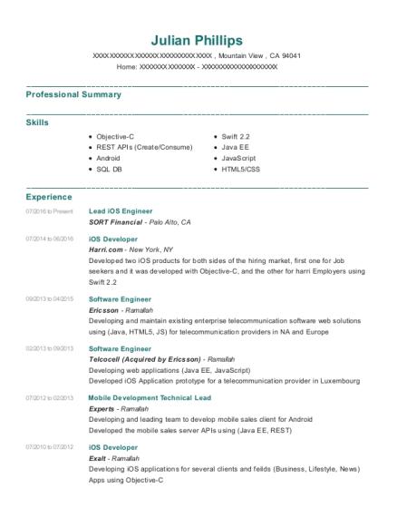 personal project ios developer resume sample seattle washington