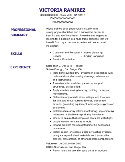 View Resume. Solar Tech 2