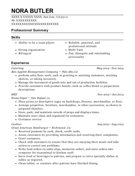 Bon Appétit Management Company Caterting Resume Sample - San Jose ...