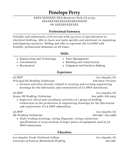 la dwp principal ee drafting technician resume sample monterey