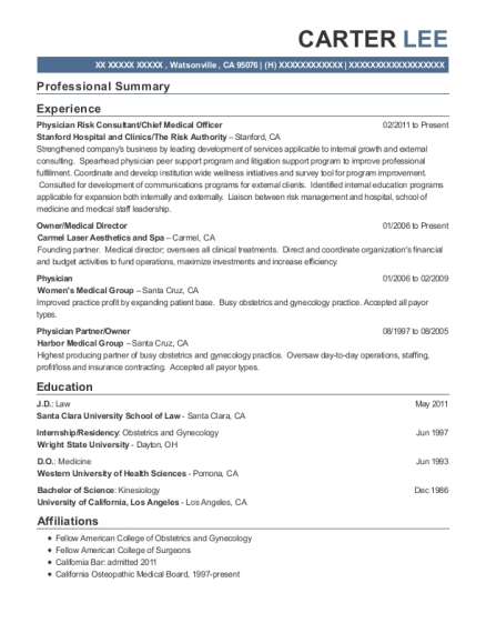 view resume physician risk consultant