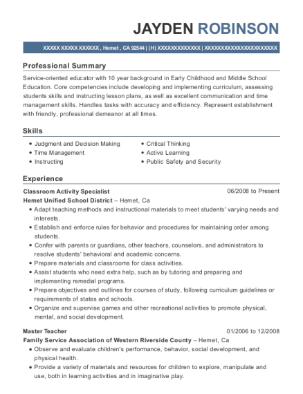 Best Classroom Activity Specialist Resumes | ResumeHelp