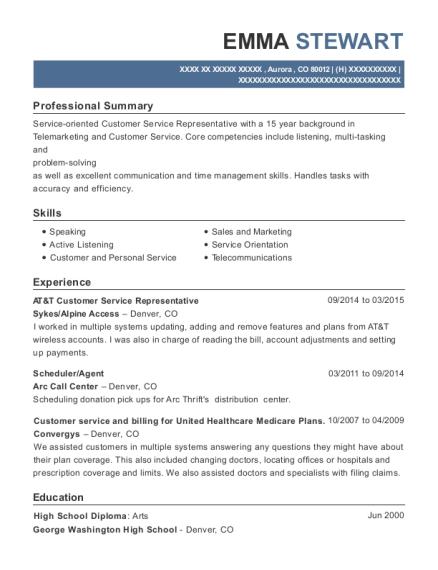 sykes at t customer service representative resume sample aurora