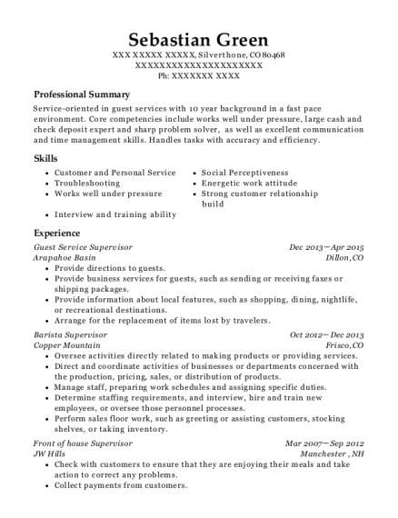 View Resume. Guest Service Supervisor