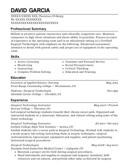 sterile processing resume