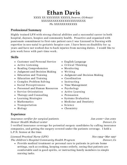 Best Licensed Practical Nurse Resumes In Colorado Resumehelp