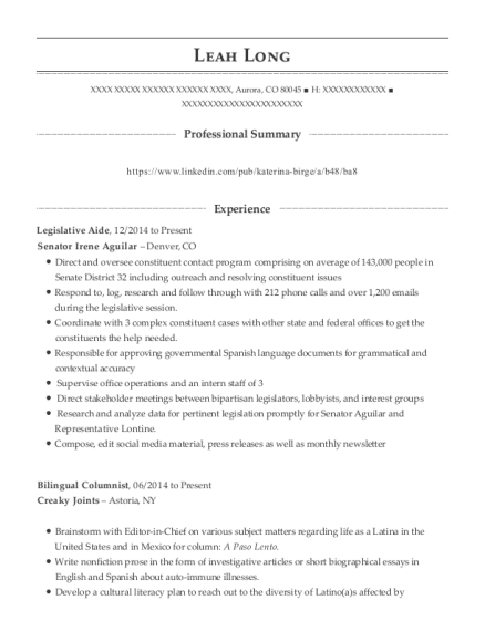 best legislative aide resumes resumehelp