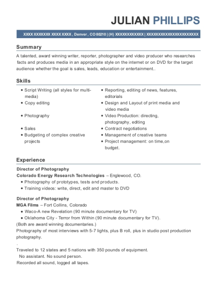 Colorado Energy Research Technologies Director Of Photography Resume ...