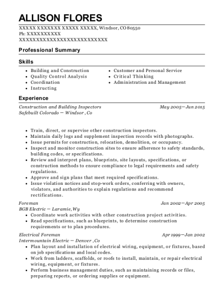allison flores - Maintenance Electrician Resume