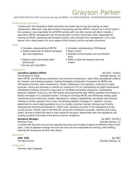 The Strawberry Fields Cannabis Logistics Officer Resume Sample ...