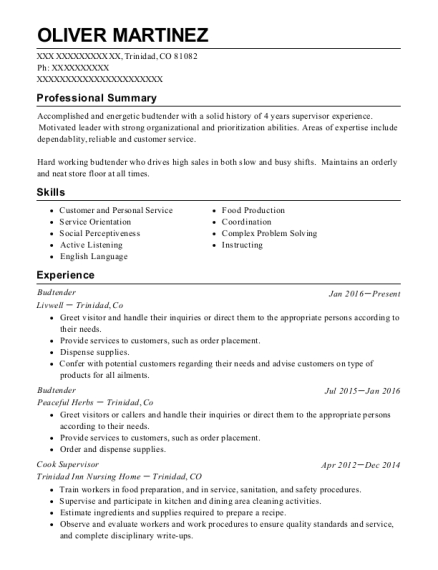 resume for budtender