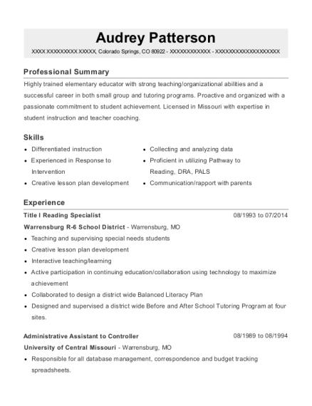 Warrensburg R 6 School District Title I Reading Specialist Resume