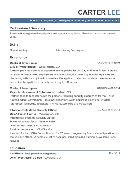 People Also Search For. Customize Resume  Background Investigator Resume