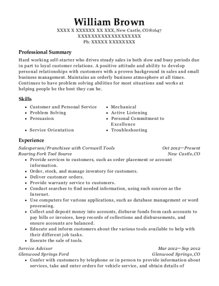 william brown - Bmw Technician Resume Sample