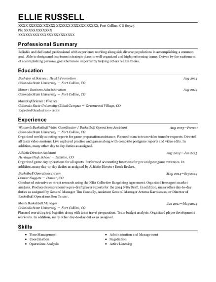 Colorado State University Womens Basketball Video Coordinator Resume ...