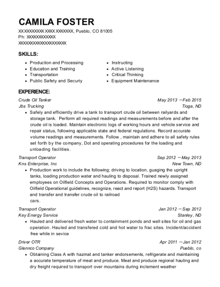 Jbs Trucking Crude Oil Tanker Resume Sample - Pueblo Colorado ...