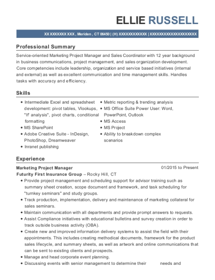 View Resume. Marketing Project Manager