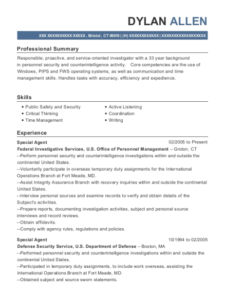 Us Army Criminal Investigation Command Special Agent Resume Sample