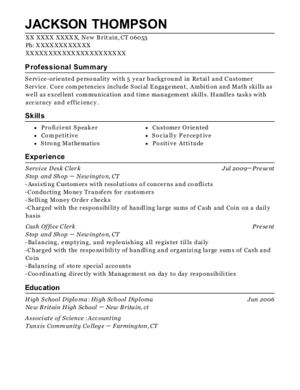 view resume service desk clerk