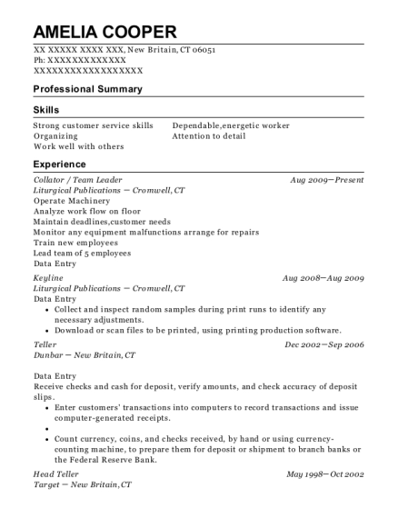liturgical publications collator resume sample new britain