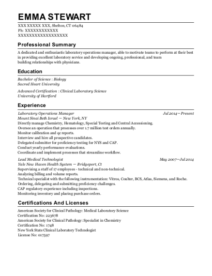 Best Laboratory Operations Manager Resumes | ResumeHelp