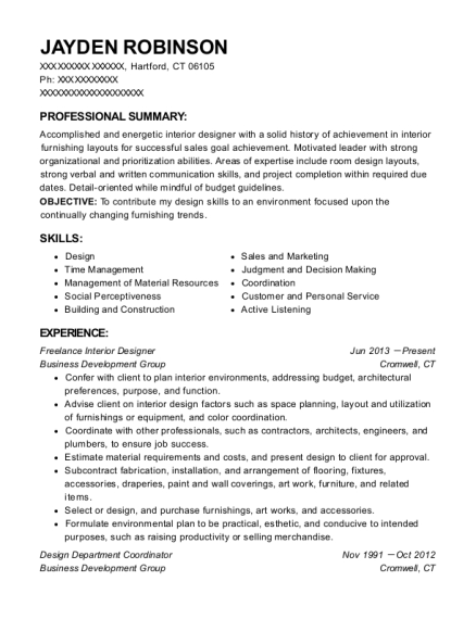 self employed freelance interior designer resume sample