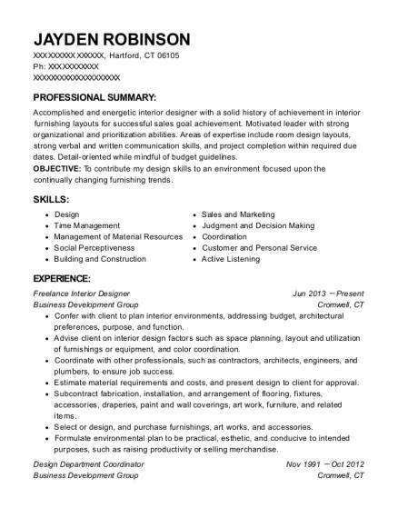 self employed freelance interior designer resume sample