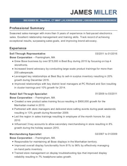 bose corporation sell through representative resume sample