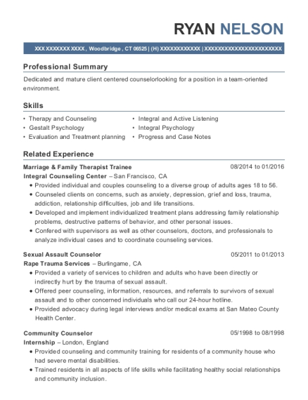 Marriage U0026 Family Therapist Trainee , Sexual Assault Counselor. Customize  Resume · View Resume
