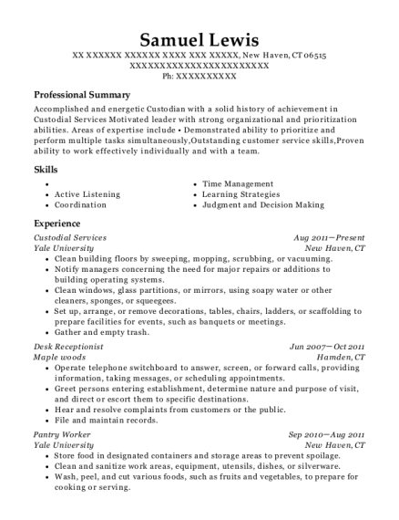 View Resume. Custodial Services