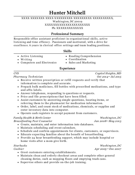 Wic-women, Infants, And Children Breastfeeding Peer Counselor Resume ...