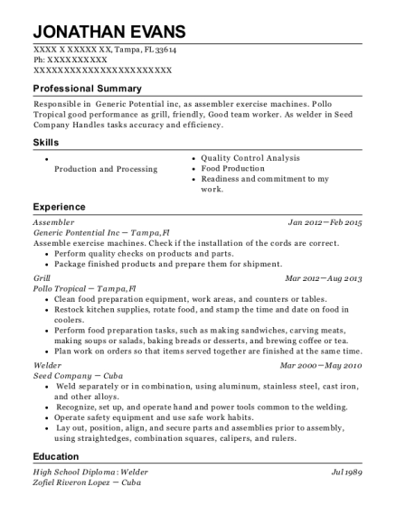 ford motor company manufacturing and production assembler resume sample