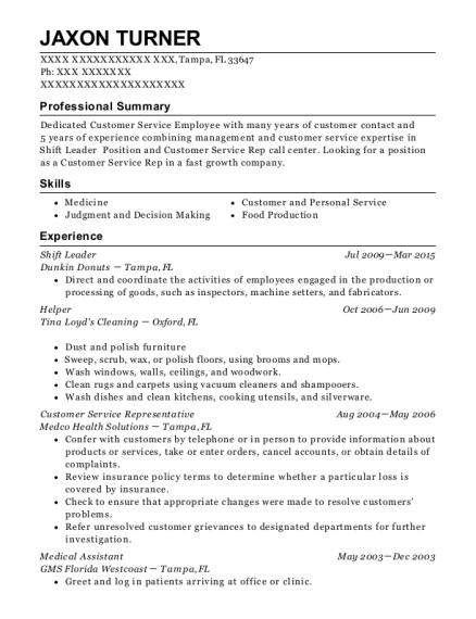 Jaxon Turner  Shift Leader Resume