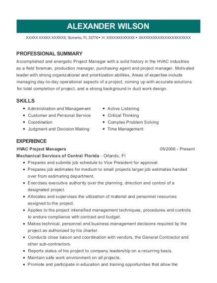 Best Hvac Project Manager Resumes | ResumeHelp