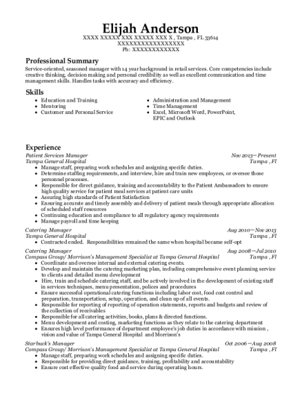view resume patient services manager