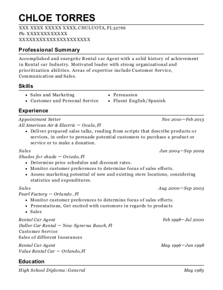 chloe torres - Appointment Setter Resume