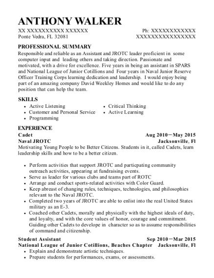 naval jrotc cadet resume sample