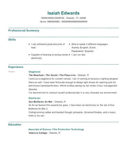 best stagehand resumes resumehelp