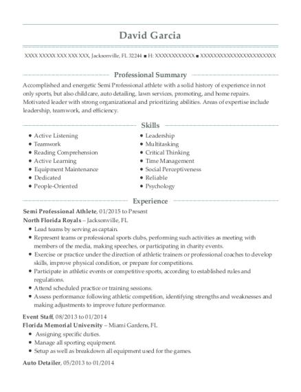 Student Athlete Resume Skills