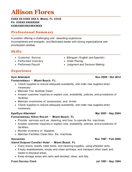 Lovely View Resume. Gym Attendant