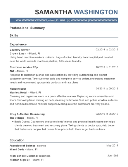 View Resume. Laundry Worker