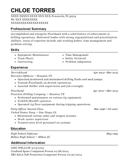 nabors drilling co  derrickhand resume sample