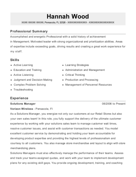 verizon wireless solutions manager resume sample plymouth