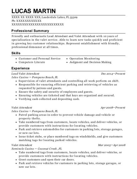 jays valet lead valet resume sample