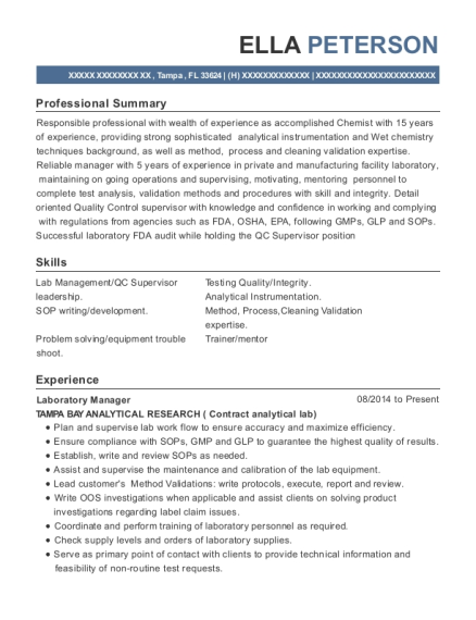 Ella Peterson  Analytical Chemist Resume