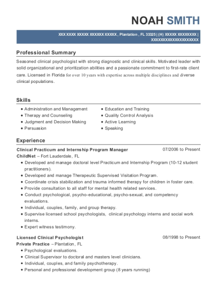 view resume clinical